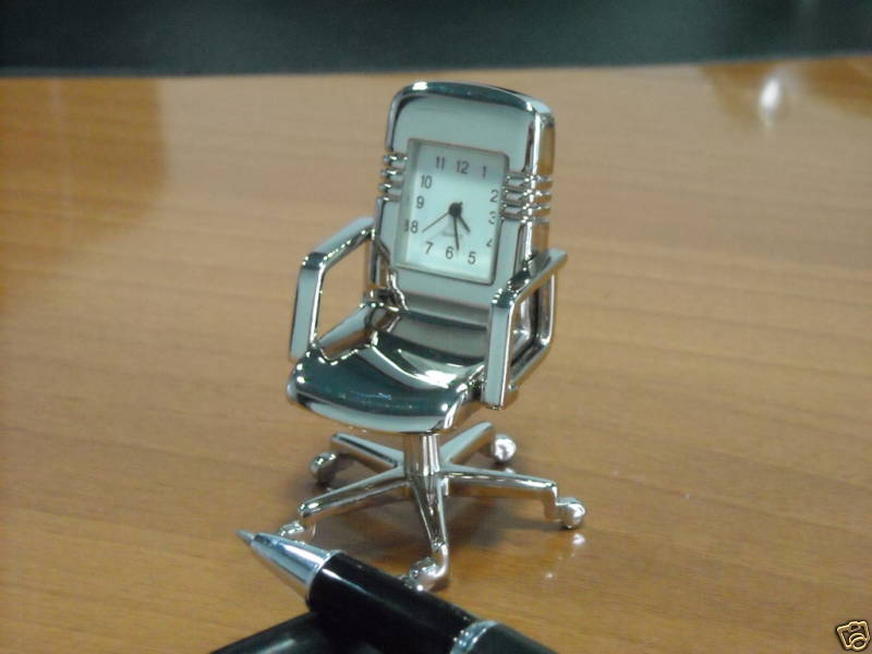 T-855 Mini Clock,metal clock, Mini Office Chair
