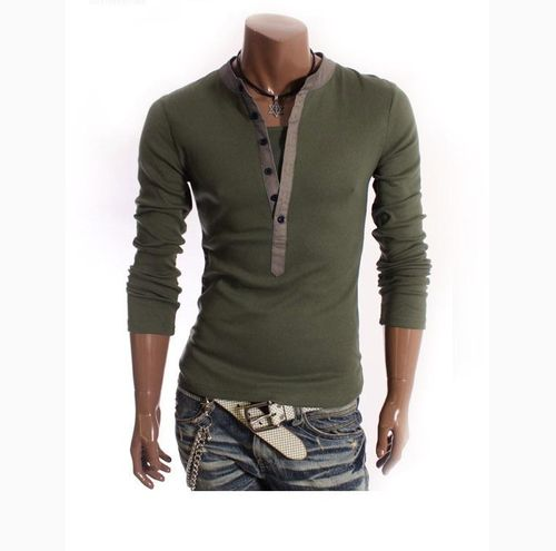 New Mens Fashion Korean Style Casual Long-Sleeves Shirt