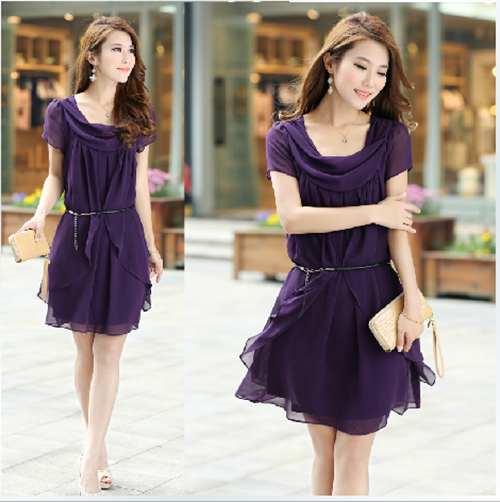 Korean Style OL Slim Fit Scoop Neck Short Sleeves Chiffon Dress with BELT