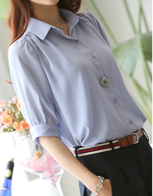Simple Style POLO collar Single-Button 1/2 Sleeve Casual Womens Blouse
