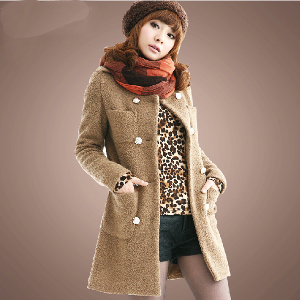 Womens Stylish Round Neck Long Sleeves Double-Breasted Wool Coat