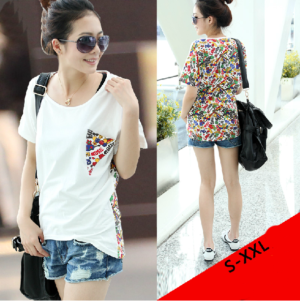 Hot Sell Womens Loose Fit Unique Pocket-Designed High-Low Hem T-Shirt