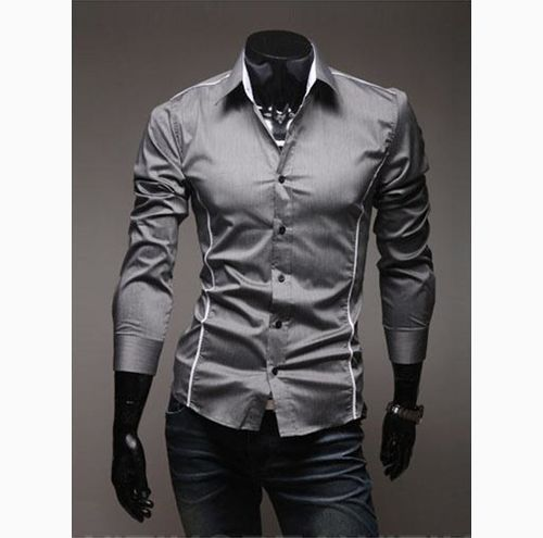 New Mens Slim Leisure Long Sleeve Shirt