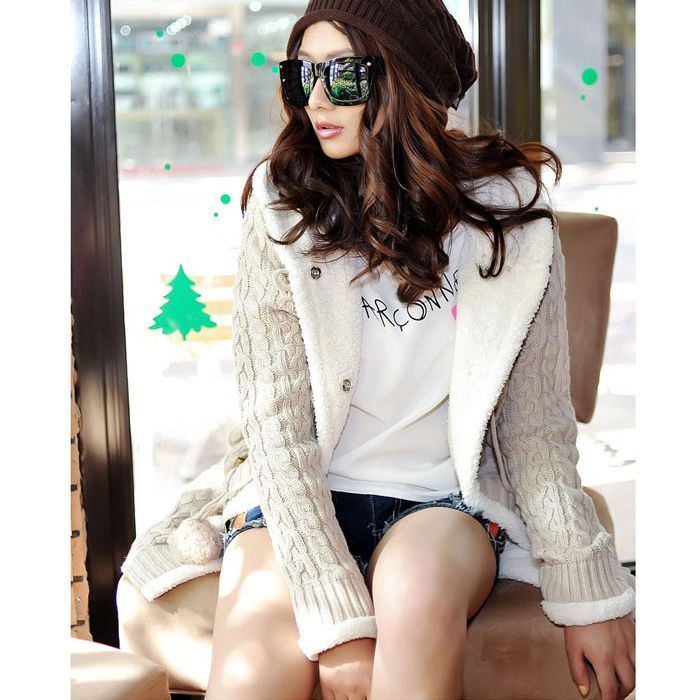New Womens Thick Horn Button Hoodie  Sweater Coat