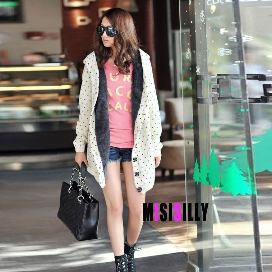New Womens Thick Spot Sweater Coat