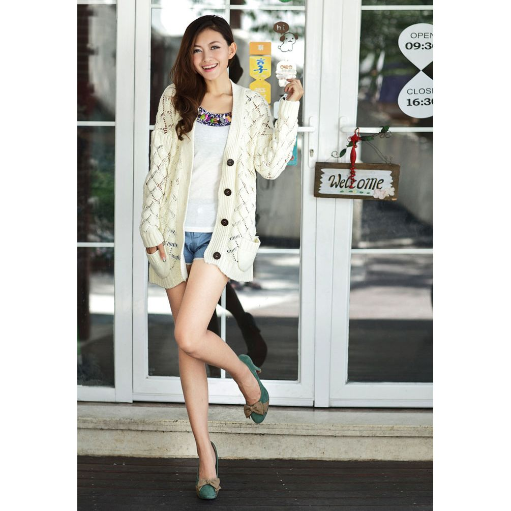 New Womens Korean Version Loose Hollowing Knitted Sweater