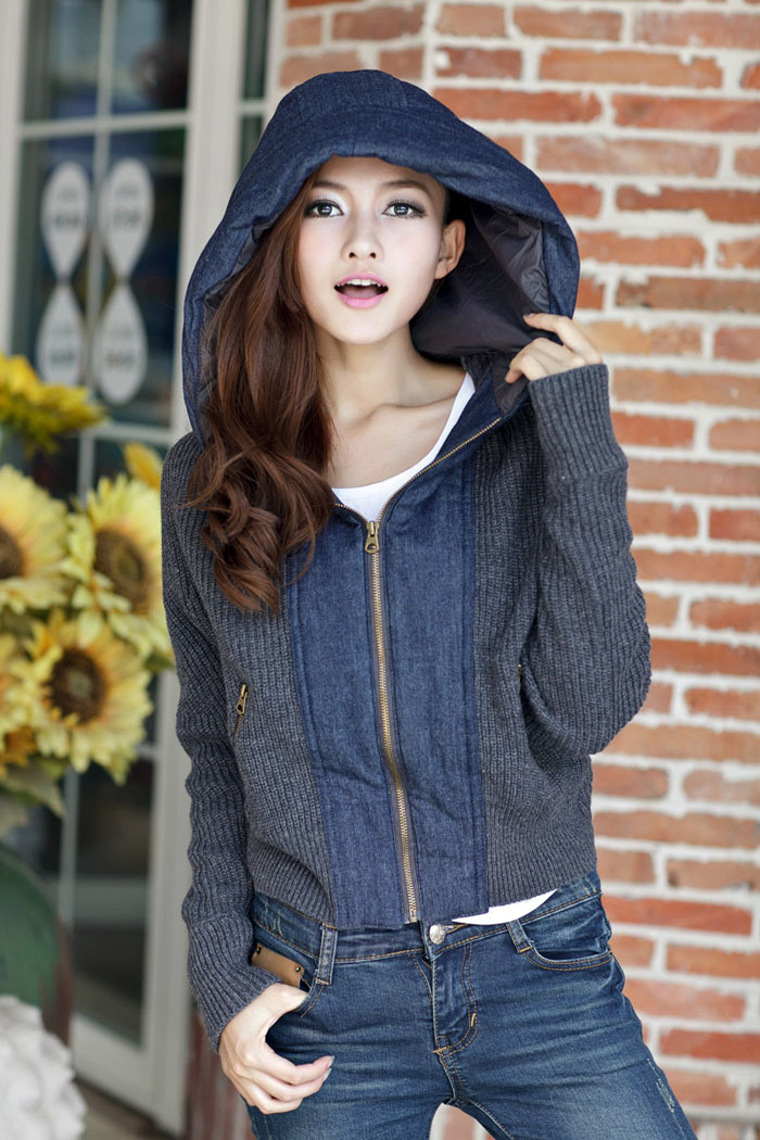New Womens Leisure Bat Sleeve Hoody Jacket/Sweater