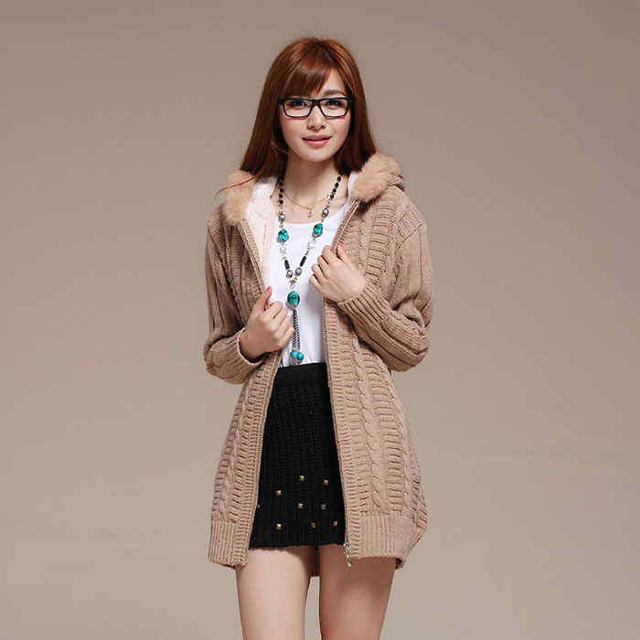 New Womens Korean Version Thickened Hoody Cardigan Sweater/Jacket
