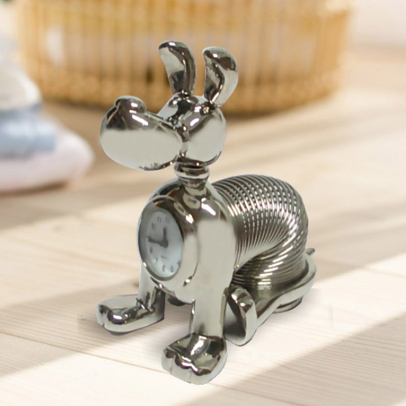 SQS-K85 Miniature Clock Mini Pewter Slinky Dog