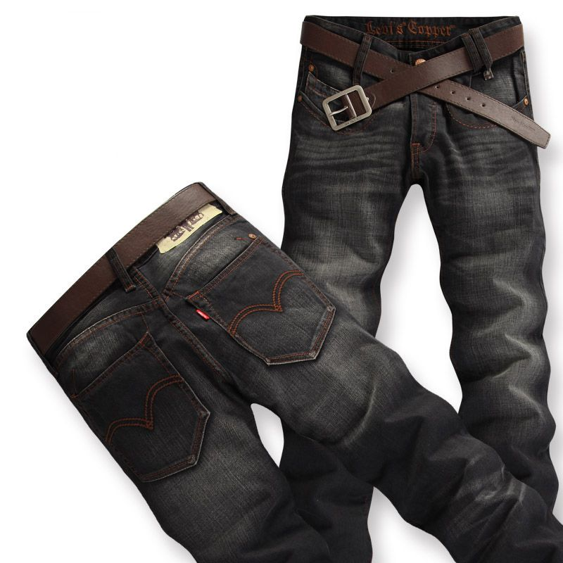 New Mens Washing Old Black Straight Jeans Trousers/Pants
