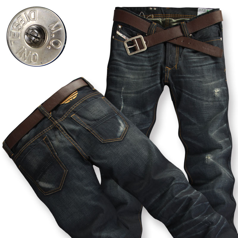 New Mens Old and Worn Straight Retro Denim Pants