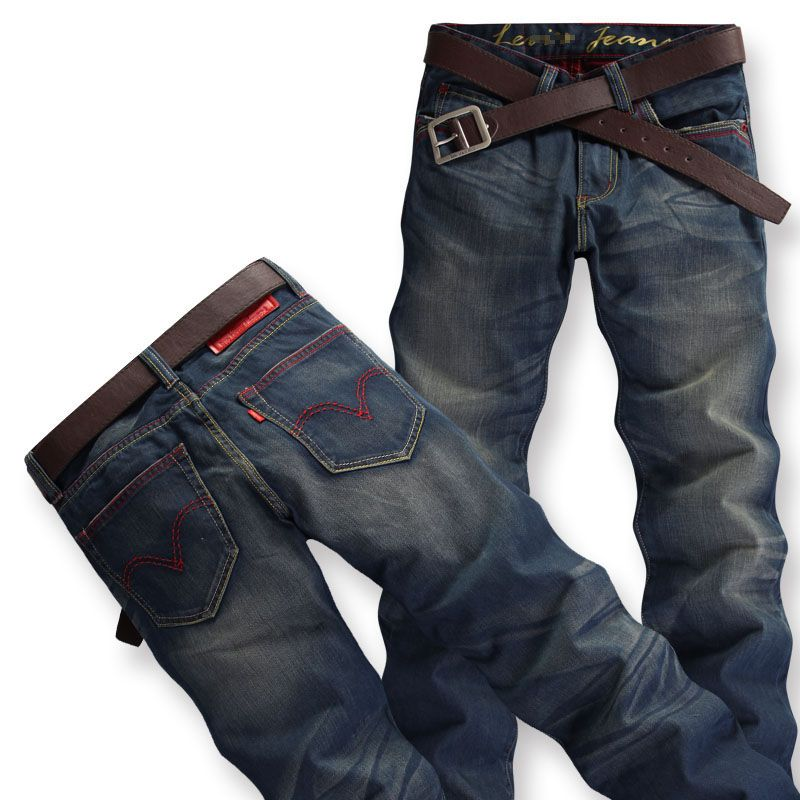 New Mens Washing Old Retro Straight Jeans Trousers/Pants