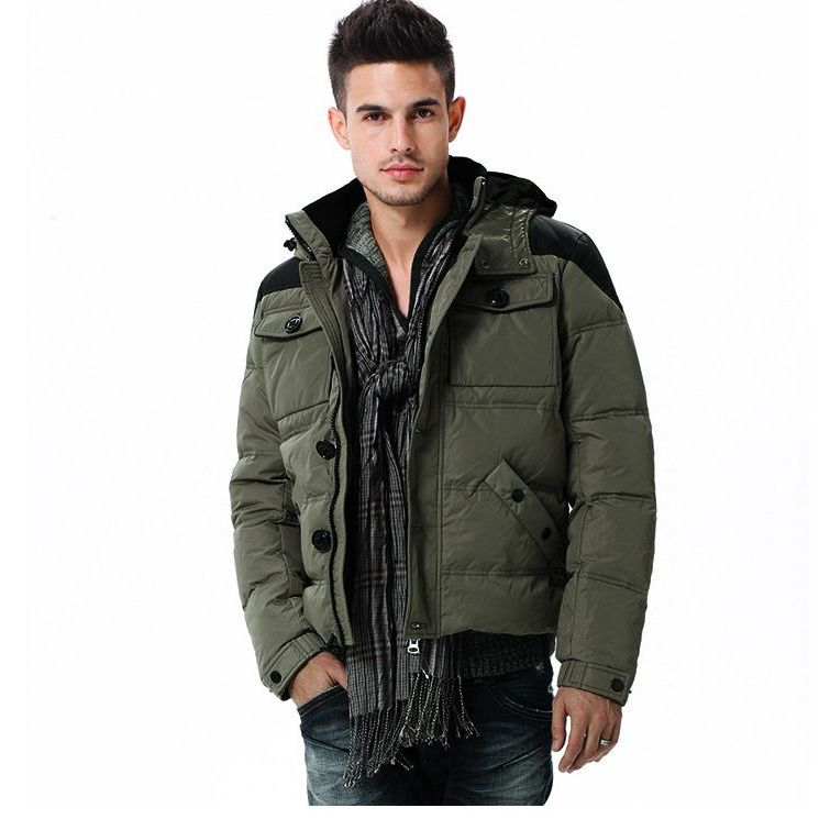 New Mens Detachable Cap Mixed-Color Short Down Jacket