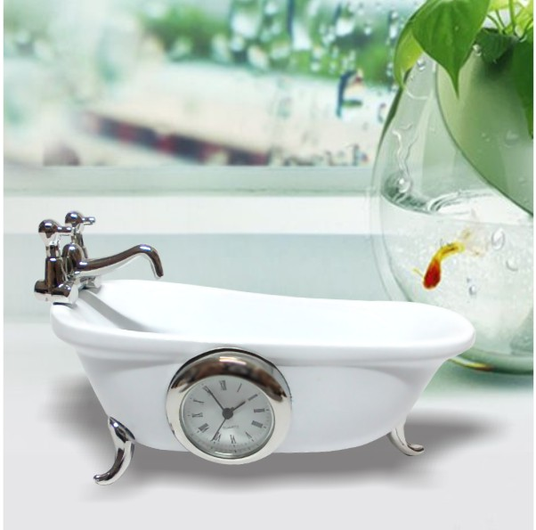 Miniature Clock, Mini Navy White Clawfoot Bath Tub