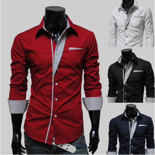 Hot Stylish Long Sleeve Solid Men's Casual Shirt Slim fit Top Suit Dress Shirts