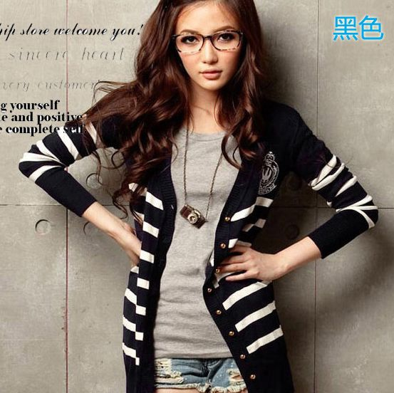 New Womens Fashion Wide Stripe Knit Cardigan