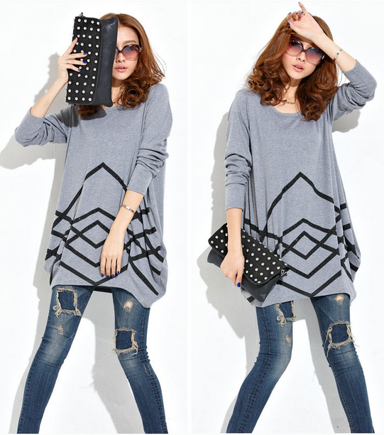 Casual Style Loose Fit Round Neck Long Sleeves Cotton T-shirt for womens
