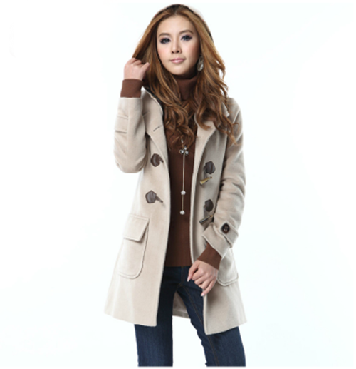 Casual Hot Sale Style Hooded Long Sleeves Thicken Woolen Womens Coat Jacket