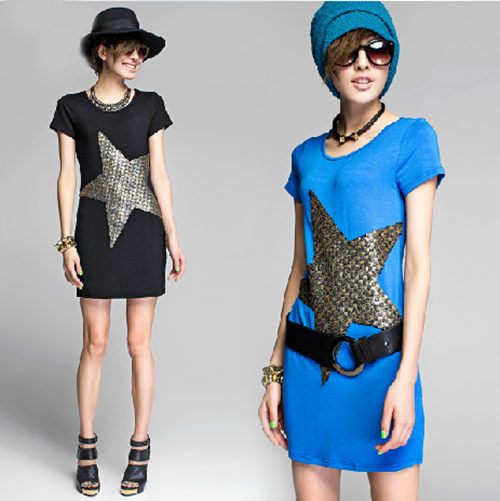 Casual Style Short Sleeve Scoop Neck Dress with Super Star Pattern Designed