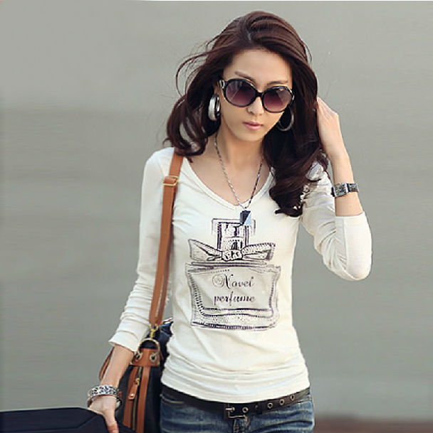 New Slim Fit Long Sleeve V-neck perfume bottle pattern printed Women T-shirt