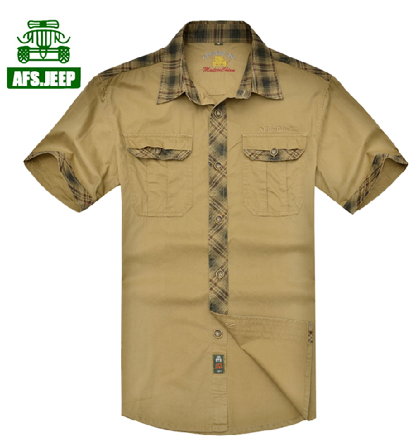 2014 JEEP FOX Short Sleeve Solid Men's Casual Shirt Slim Fit Dress Shirts