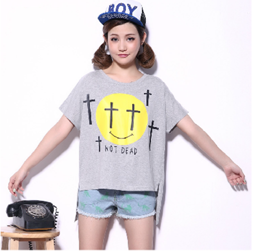Womens Casual Loose Fit Smile and Letters Printed Batwing Short Sleeve T-Shirt